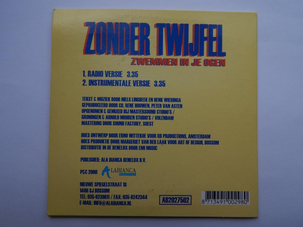 CD Zonder Twijeel -  Zwemmen in je  ogen Зарубежная музыка k1
