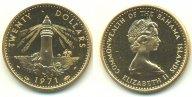 Багамские о-ва 20 долларов 1971. Au 0.917. 7.988г. UNC. 0.2355 oz.
