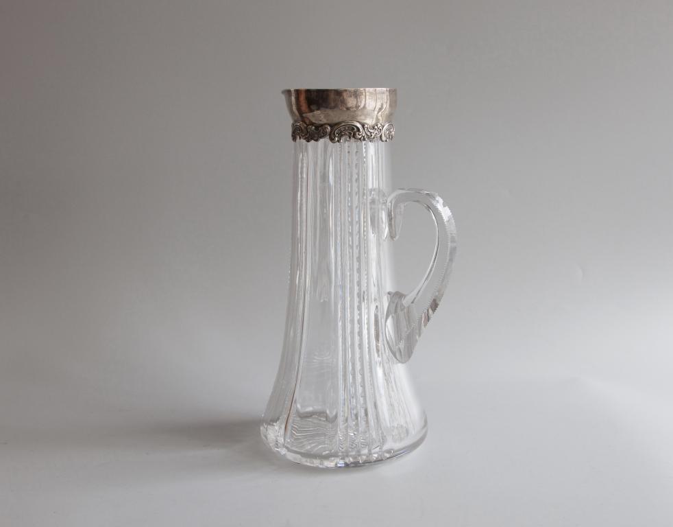 Кувшин для холодных напитков. Крупный. Хрусталь, серебро Sterling, 925 проба. Антиквариат
