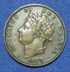 1/3 фартинга 1827 года. Великобритания. Георг IV.
