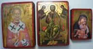 Три иконы. Николай Чудотворец, Богородица и Святая Троица. Редкость!