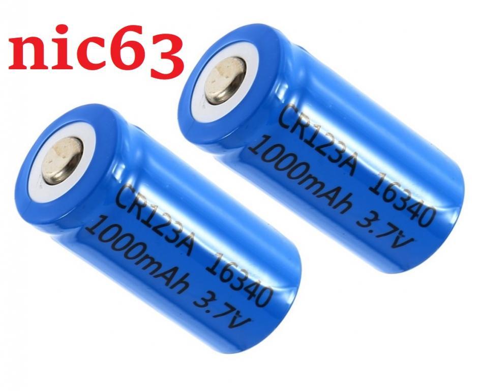 3.7В 1000мАч аккумуляторы 16340 CR123A Литий-Ионные Аккумуляторные Батареи 2 штуки новые
