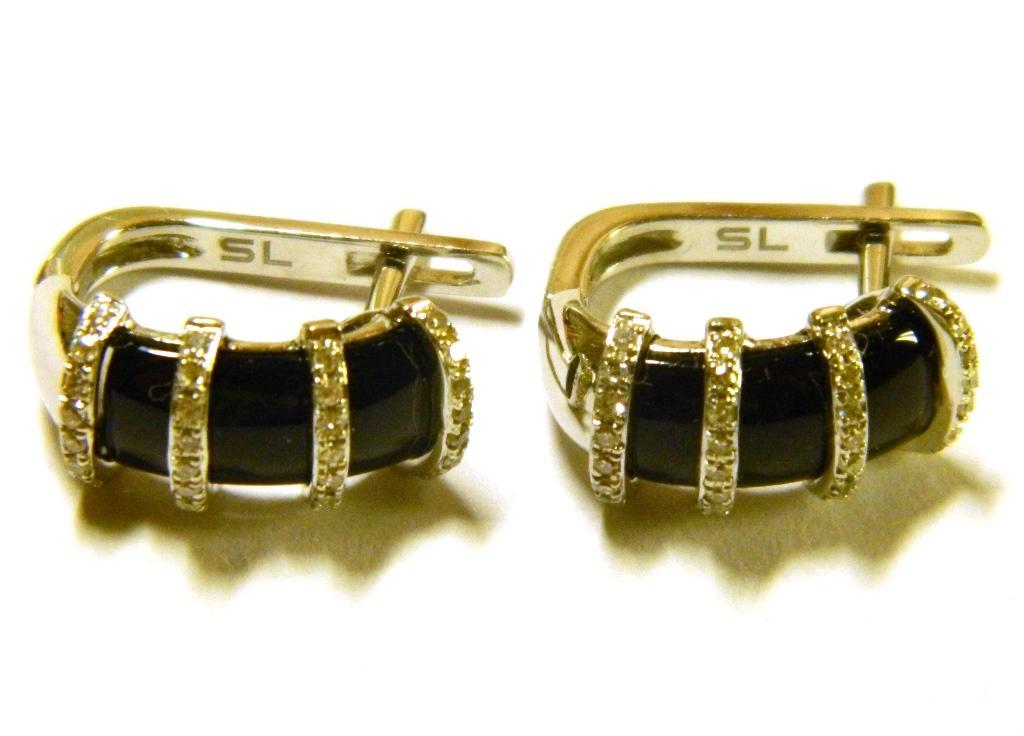 Золотые серьги с бриллиантами и ониксом (0,20 кар. 2,18 кар.) 3,49 гр. 585 пр.