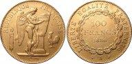 Франция 100 франков 1886, XF, золото (900) - 32,2 гр