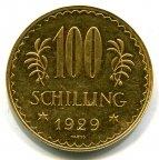 Австрия. 1-я республика. 100 шиллингов 1929. qwz. Скидка при покупке нескольких монет. Золото