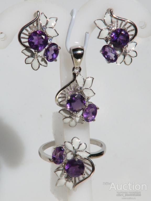 РОСКОШНЫЕ натуральные ААА аметист и CZ серебро 925.цветок эмаль