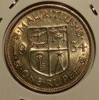 Монета 1 рупия. МАВРИКИЙ 1934г. Серебро