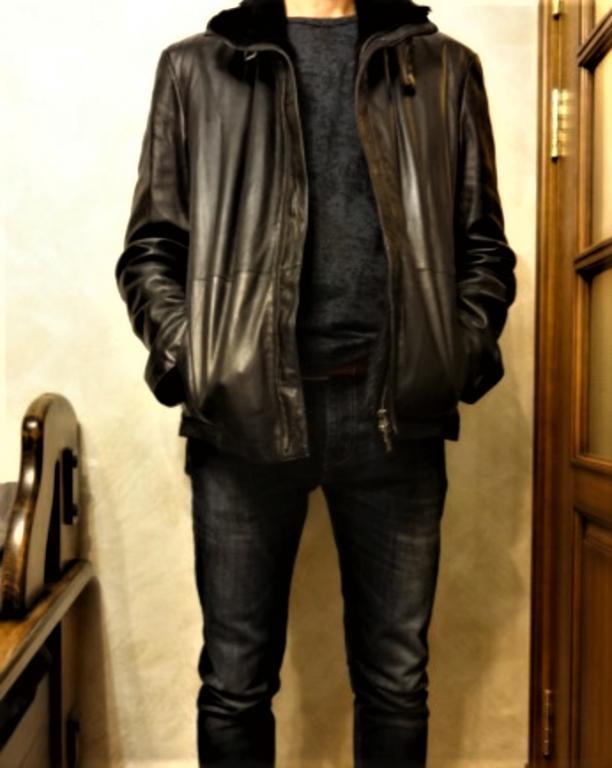 Куртка кожаная мужская на меху.
