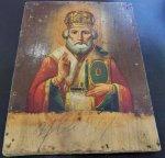 икона Николай Чудотворец, без оклада, доска 18х24 см, живопись, XIX в.