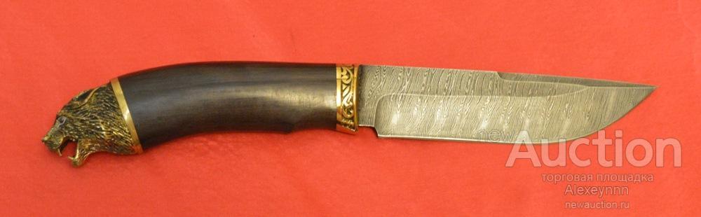 Охотничий нож «Шерхан» дамаск. 30 см! Черный граб, латунь! Голова волка! Эксклюзив! С рубля!
