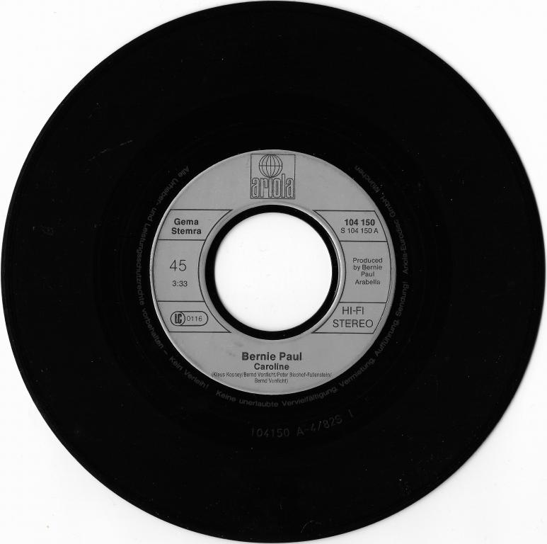 "Bernie Paul ""Caroline"" 1982 Single"