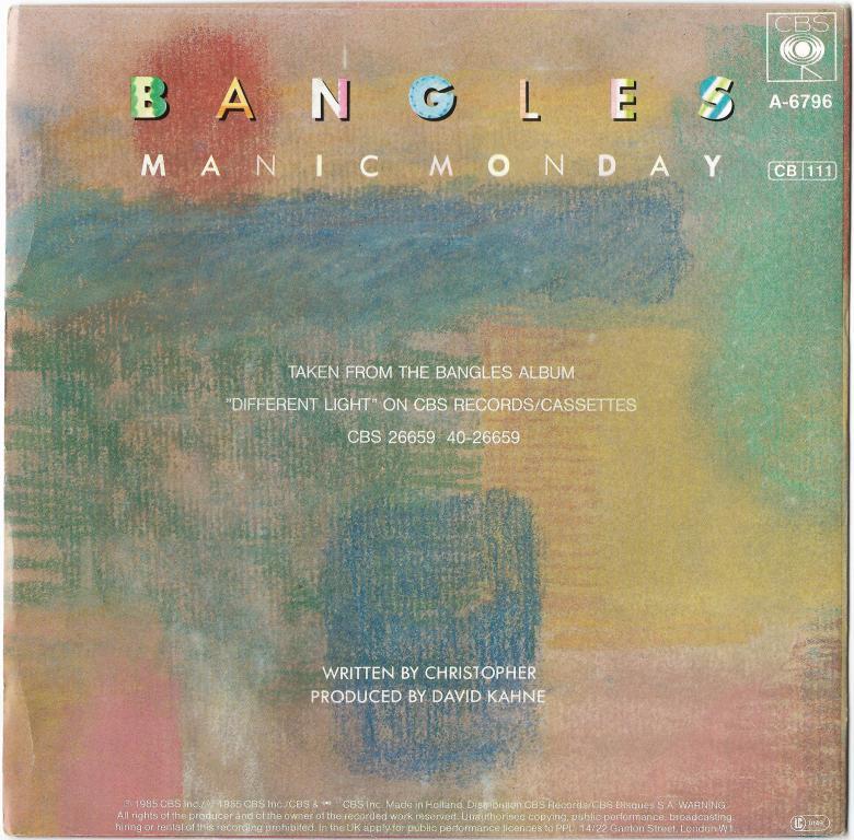 "Bangles ""Manic Monday"" 1985 Single"