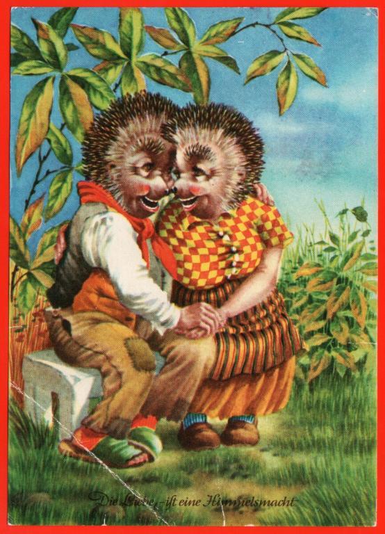 Ежики в старых открытках