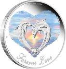 Акция. Фауна. Дельфины. Вечная любовь. 2013 г. 0.5 $. Серебро.Сердце.Море.(Смотрите другие мои лоты)