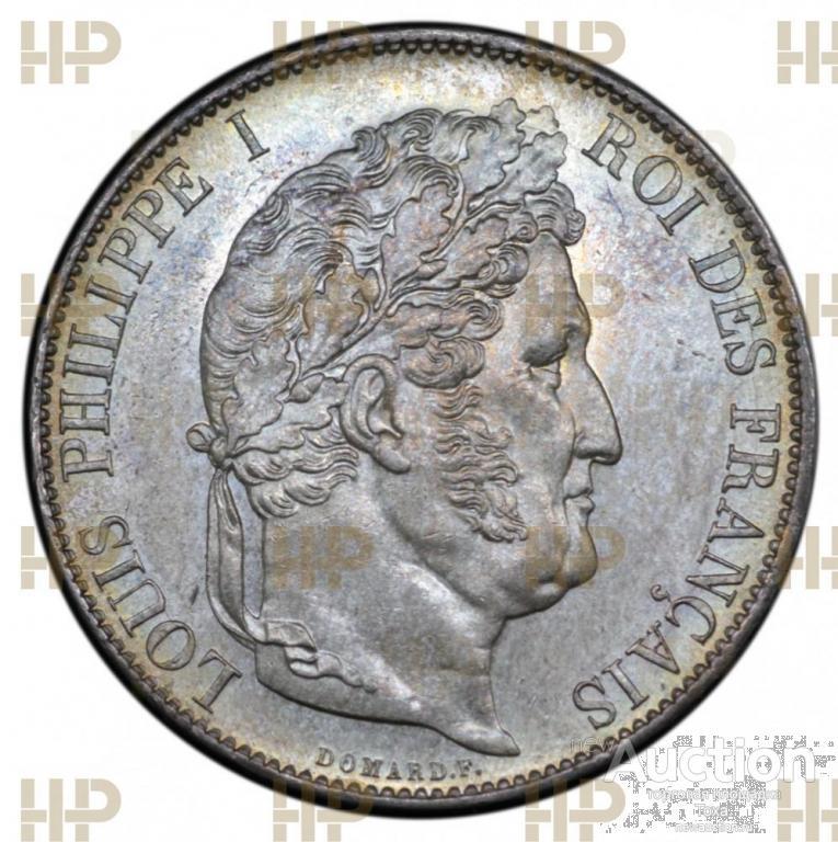 Франция. Луи Филипп. 5 франков 1847 года (А - м.д. Париж). UNC. В слабе ННР MS62.