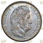 Франция. Луи Филипп. 5 франков 1847 года (А - м.д. Париж). UNC. В слабе ННР MS 62.