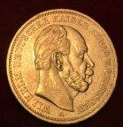 Золотая монета 20 марок 1884г.