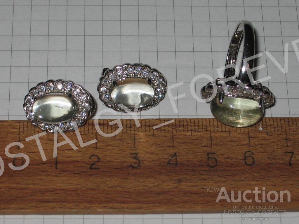 Серьги кольцо Малинка хрусталь аметист иск бриллианты серебро под белое золото комплект