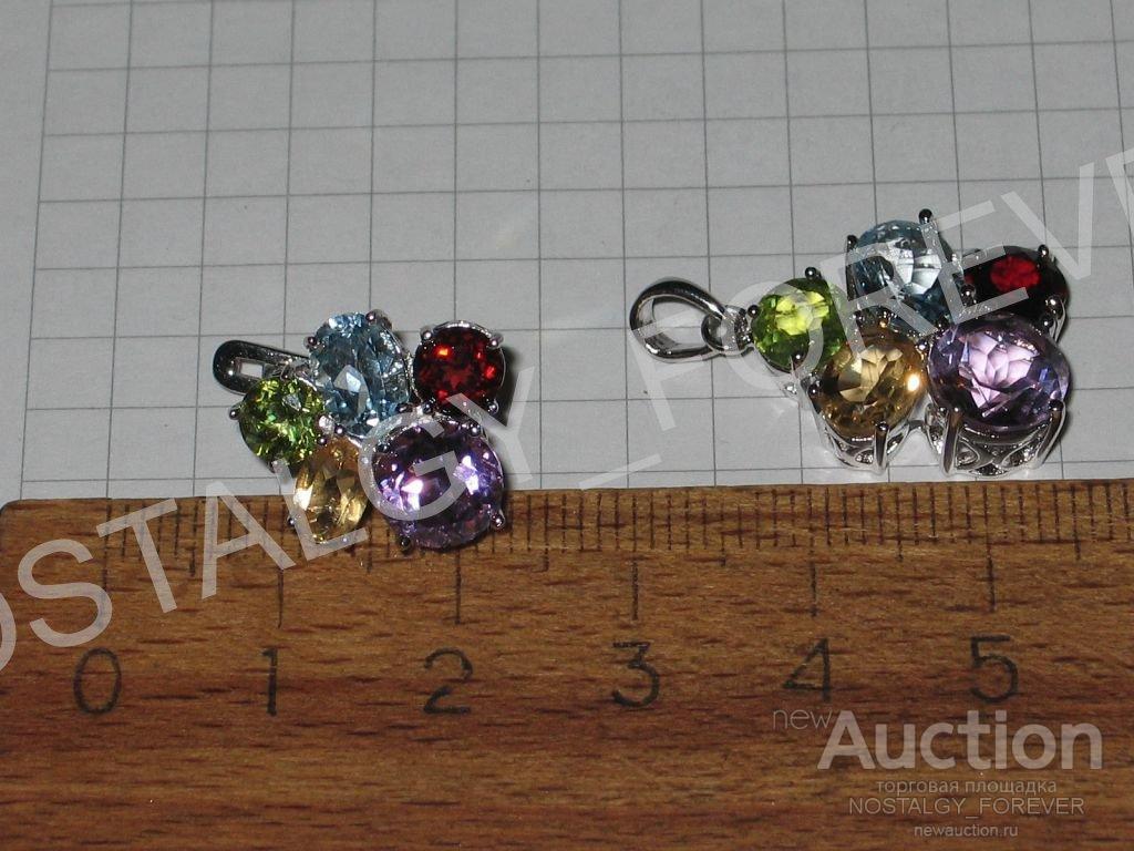 Серьги аметист топаз хризолит гранат цитрин серебро как золото