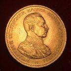 Золотая монета 20 марок 1914г.