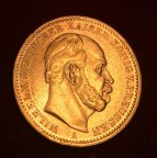 Золотая монета 20 марок 1873г.