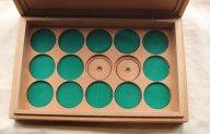 Коробка для хранения и патинирования монет из махагона Б/У на 15 монет