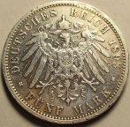5 Марок 1893 год. Вильгельм II. А. Пруссия Германия. Серебро. Хорошая сохранность. Редкая!