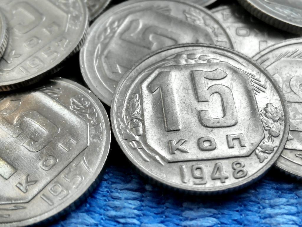 10, 15 КОПЕЕК СССР. 36 ШТУК. МЕЛЬХИОР. XF-AU
