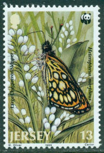 Jersey Великобритания Джерси 1989 WWF фауна бабочки насекомые цветы ** (1/4)