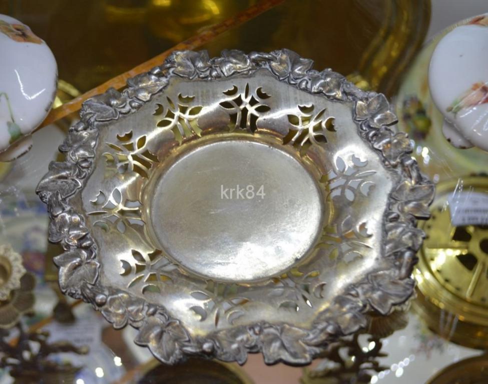 Тарелочка серебрение мельхиор узорная с виноградными листиками плющ 19см