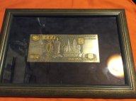 Плакетка 1000 рублей,тонкалистовая серебро с позолотой.оригинал