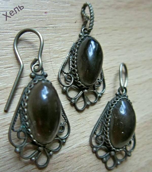 Гарнитур комплект серьги кулон скань серебрение дымчатый кварц СССР