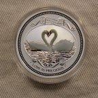 Любовь белые лебеди 2 доллара серебро 2008 острова Кука