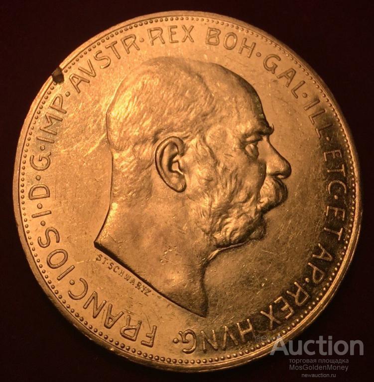 """Золотая монета 100 крон, """"Франц-Иосиф I"""", 1915, PROOFLIKE, 33,8 гр. Au900, С РУБЛЯ!!"""