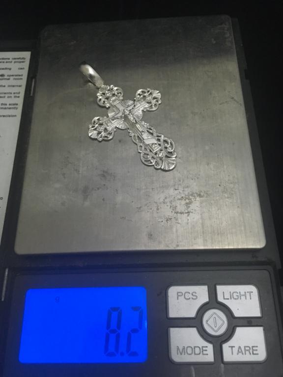 """Крест """"Ажурный с Фианитами"""" из серебра 925 пробы вес 8.2 грамм"""