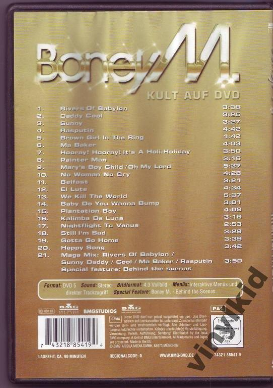 DVD BONEY M-GOLD 20 SUPERHITSRU)