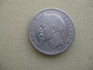 Франция 5 франков 1867 Наполеон III Серебро Оригинал