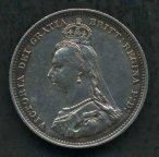 Великобритания, 6 пенсов . 1887 года . Серебро .