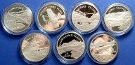 25 долларов 2003 год. Самолеты. Комплект из 7 монет. Соломоновы Острова. Серебро! 7 унций / oz