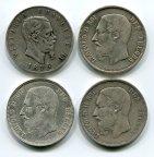 4 монеты! 5 франков 1869-1873 и 5 лир 1876. Леопольд 2 и Витторио Эмануэль. Серебро!