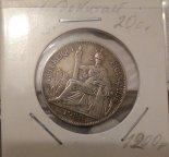 Монета 20 цент. Французский Индокитай 1924г. Серебро.