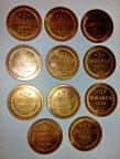 3 копейки ЕМ и ВМ 1849-1859г, копии монет высокого качества. 11 монет. Полное сходство с оригиналом.