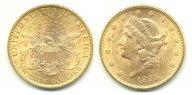 20 долларов 1895. UNC. Золото 0,900. 33,436 г. 0.9675 oz. Яркий штемпельный блеск.