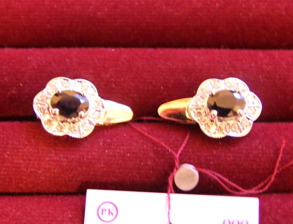 Серьги с сапфирами 2,24 ct и бриллиантами 0,58 ct золото 585 пробы 6,96 грамм
