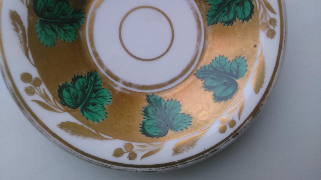 Старинная редкая чайная пара Репейник с жемчугом фарфор Германия 1820