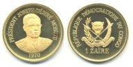 Конго. 1 заир 1970. Proof. Золото. 0,900. 32,0 г. 0.9259 oz. Тираж 1000шт. Крайне редкий!