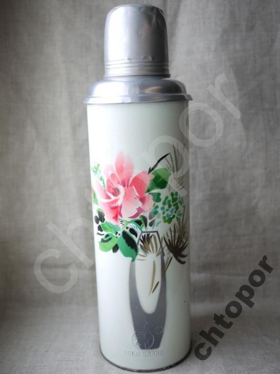 Термос о.8л Китайский с рисунком Цветы в вазе