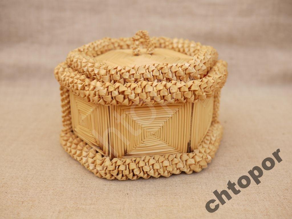 Шкатулка коробка плетеная из соломки