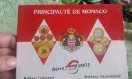 Монако 2001 г. Официальный набор монет евро от 1 цента до 2 евро супер редкость