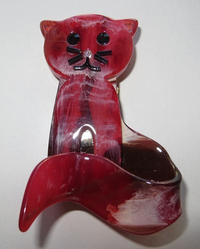 Кот Кошка Брошь Пластик Большая СТИЛЬНАЯ !!! КРАСИВАЯ !!!